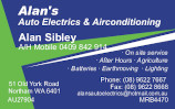 Alan's Auto Electrics card
